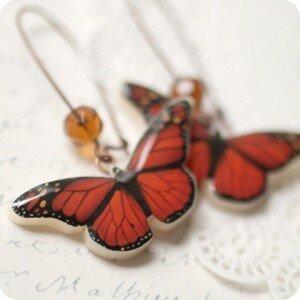 Серьи Красные бабочки