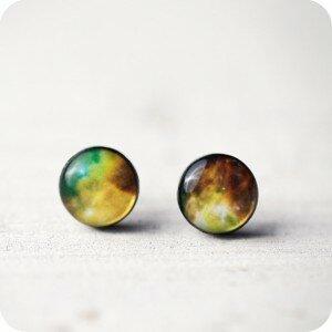 Серьги Nebula Green (гвоздики)