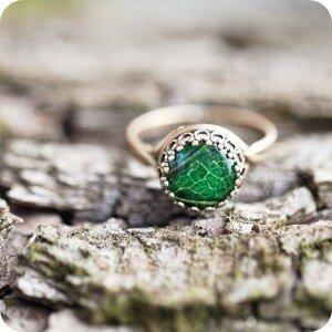 Кольцо Зеленый листик